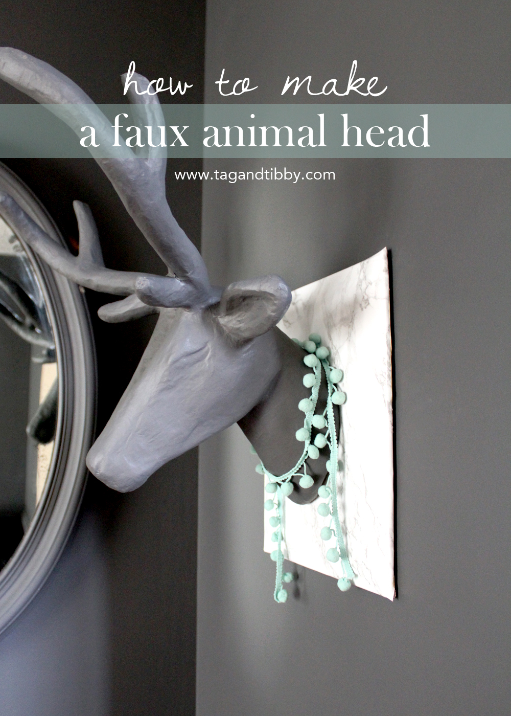 learn how to make a paper mâché animal head on a faux marble plaque for under $20 | tag&tibby