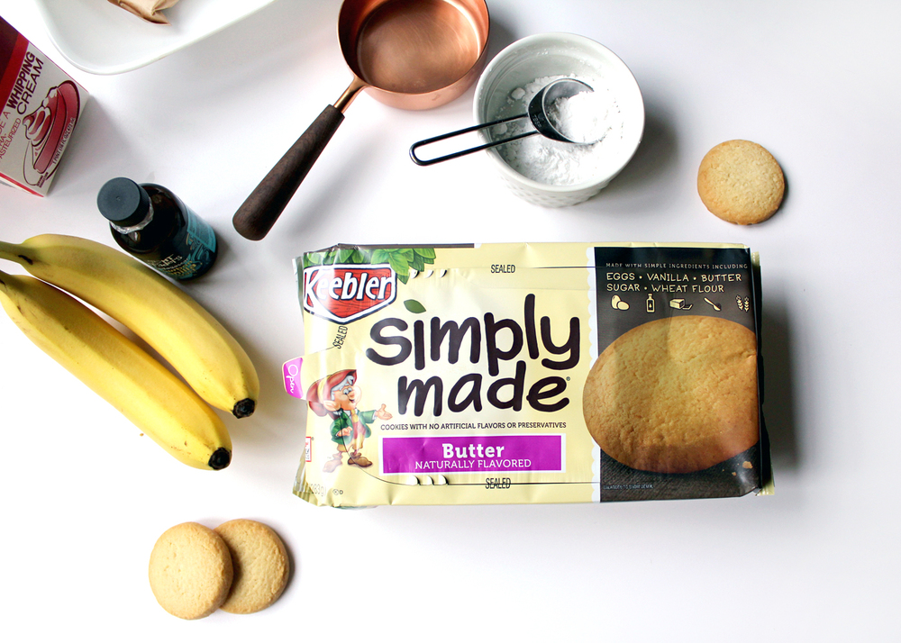 Fresh whipped cream, bananas, vanilla, and Keebler® Simply Made Butter Cookies