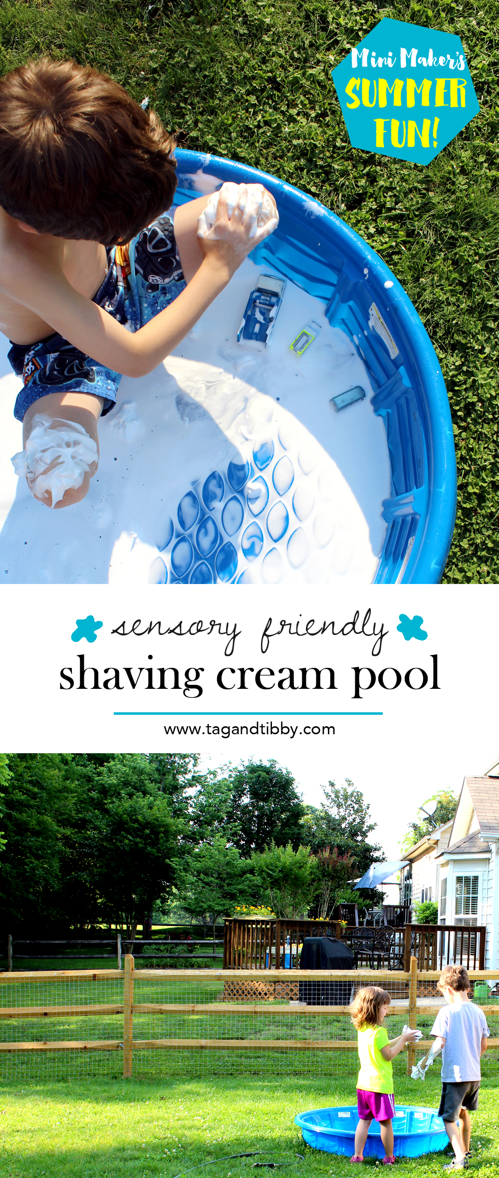 sensory friendly shaving cream pool idea for elementary age kids