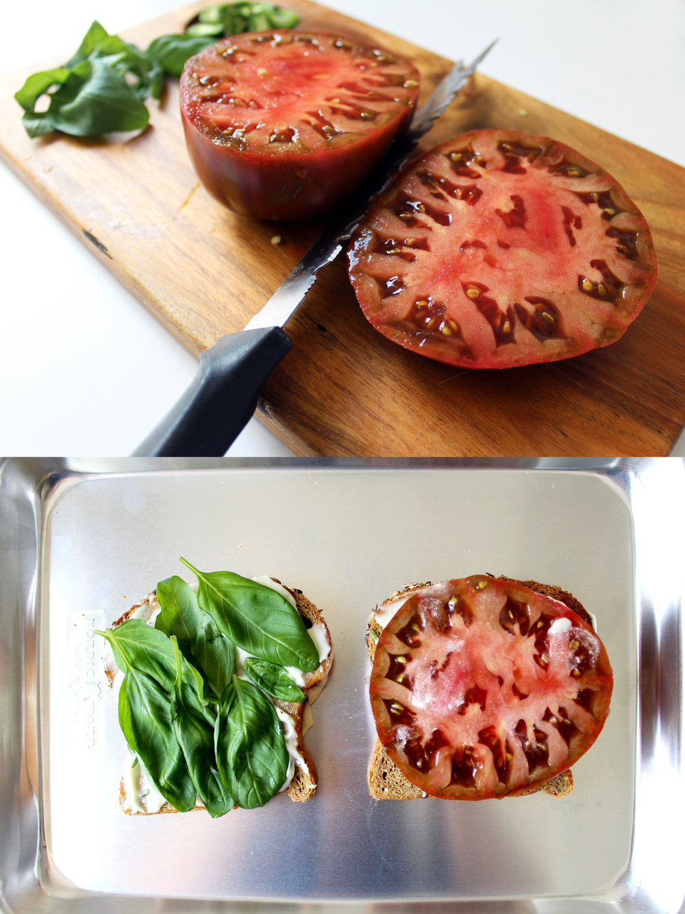 steps for building a spicy tomato sandwich with heirloom tomato and basil