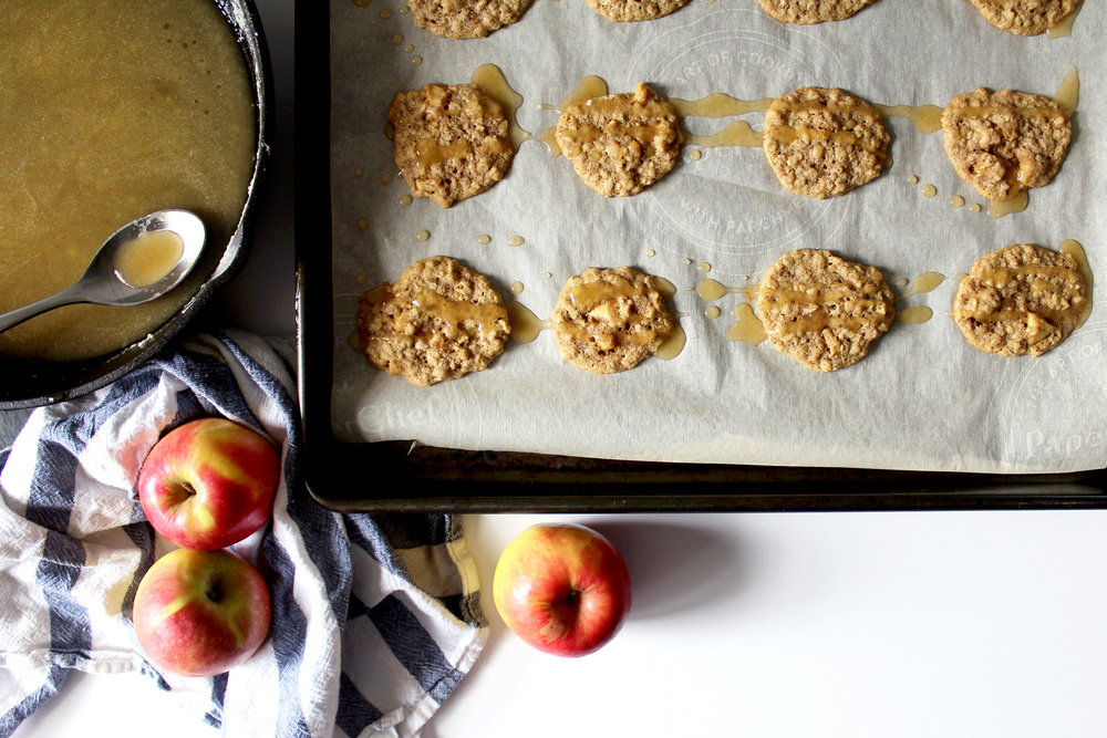 old fashioned oatmeal cookies with apple and brown butter frosting