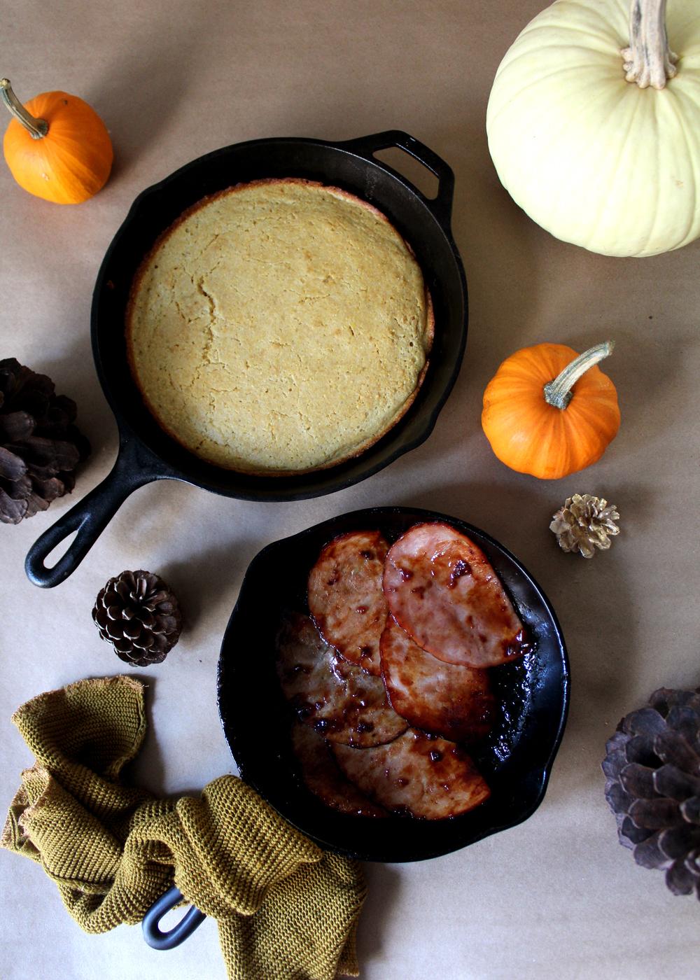 Skillet Cornbread with Glazed Strawberry Jalapeño Ham