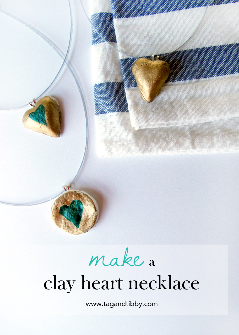 DIY clay heart necklaces