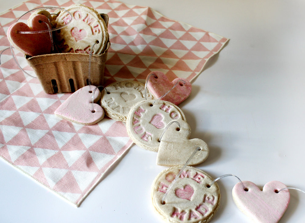 learn how to make a salt dough heart garland--perfect for Valentine's Day!