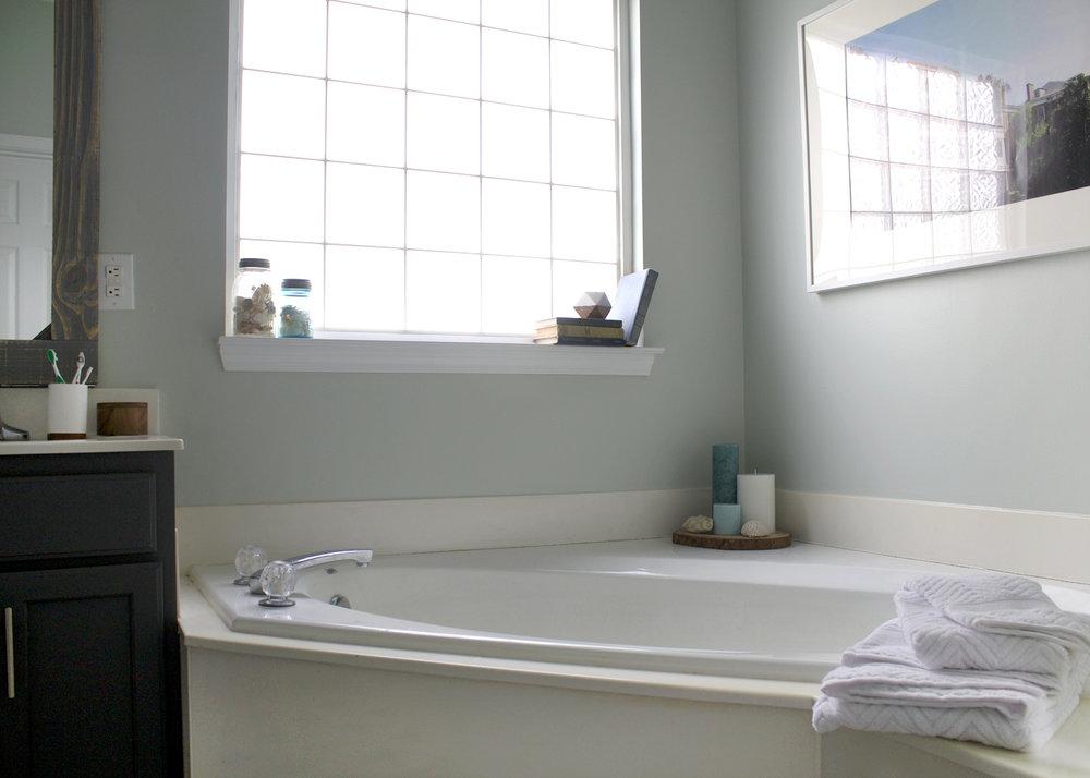 Sherwin Williams Sea Salt Bathroom. Sherwin Williams Sea Salt Master Bathroom Makeover