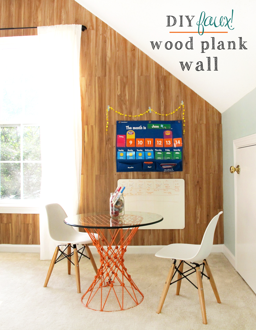 learn how to make a faux wood plank wall for under $100!