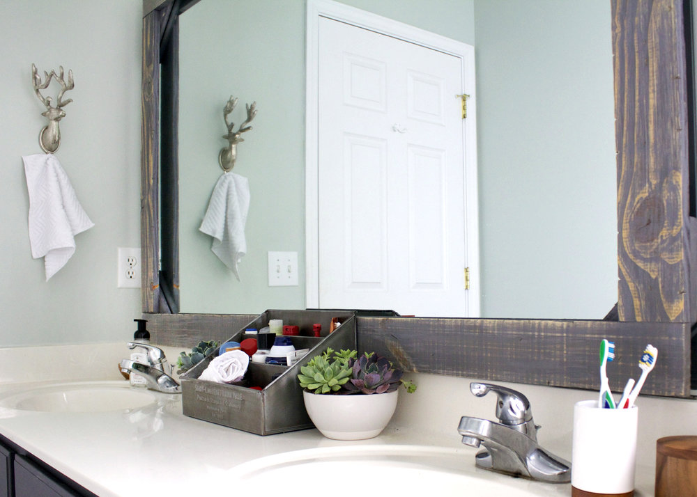 Diy rustic wood mirror frame tag tibby for How to frame mirror in bathroom