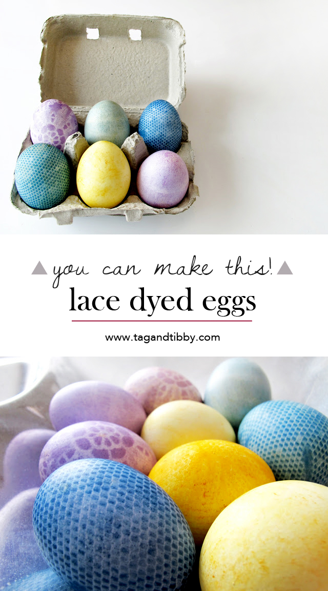 how to dye Easter eggs with lace!