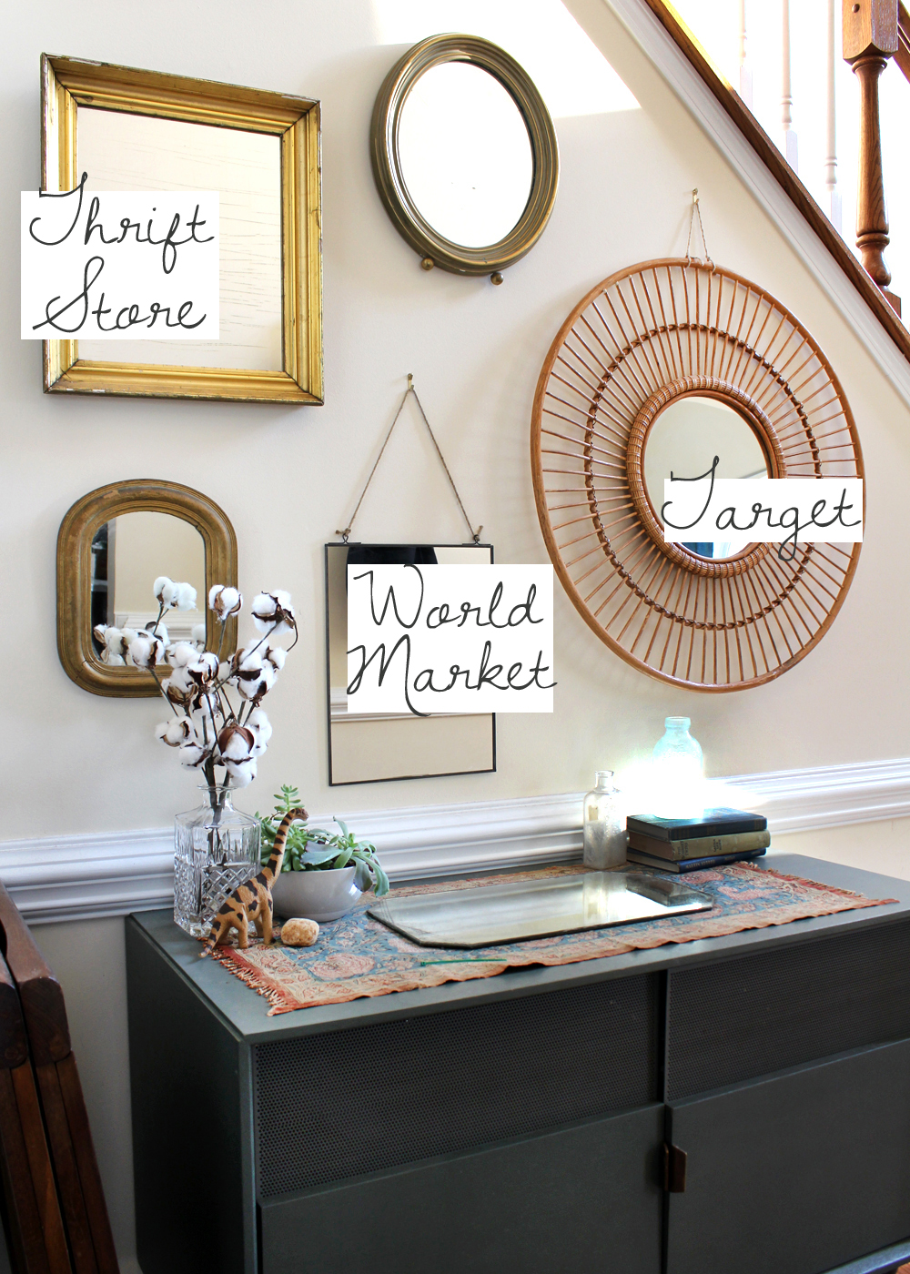 When making a mirror gallery wall mix in vintage/antique mirrors with new for added texture