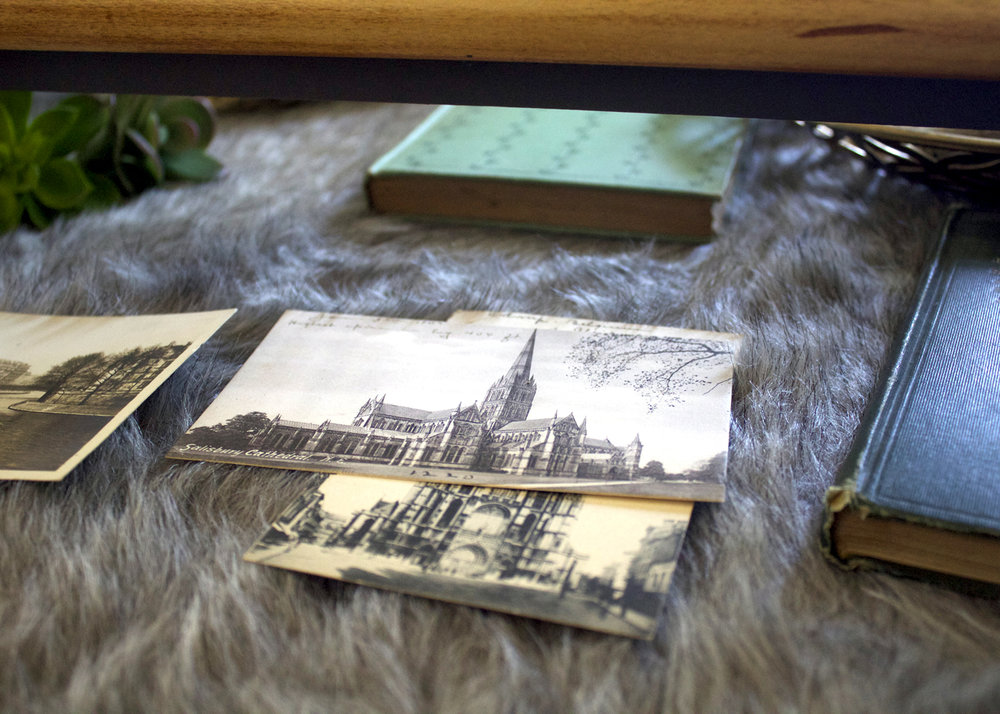 Vintage Postcards and Books in Drawer