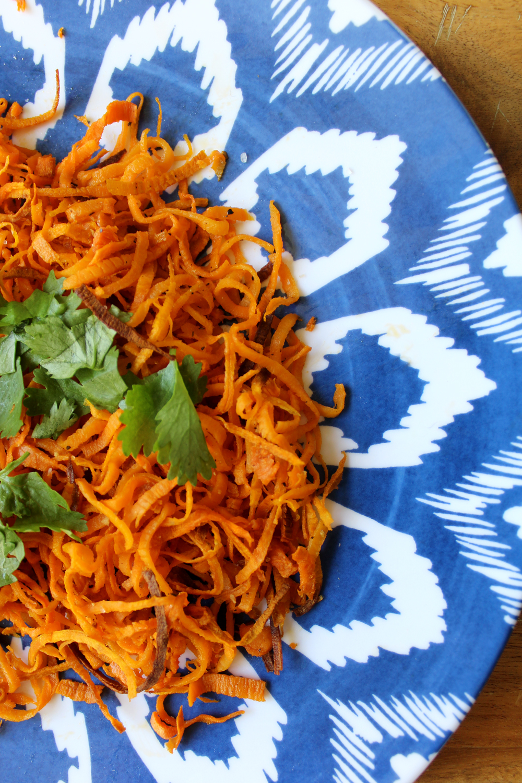 paleo friendly homemade cilantro sweet potato curly fries