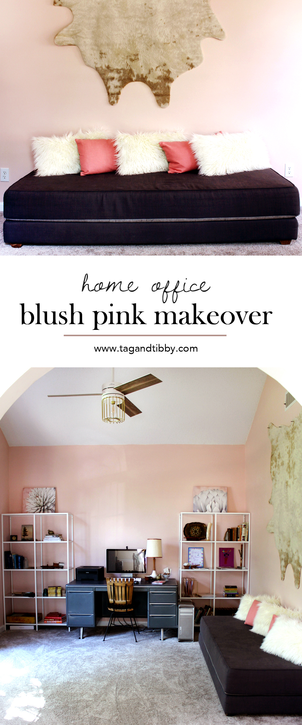 a blush pink home office makeover | tag&tibby