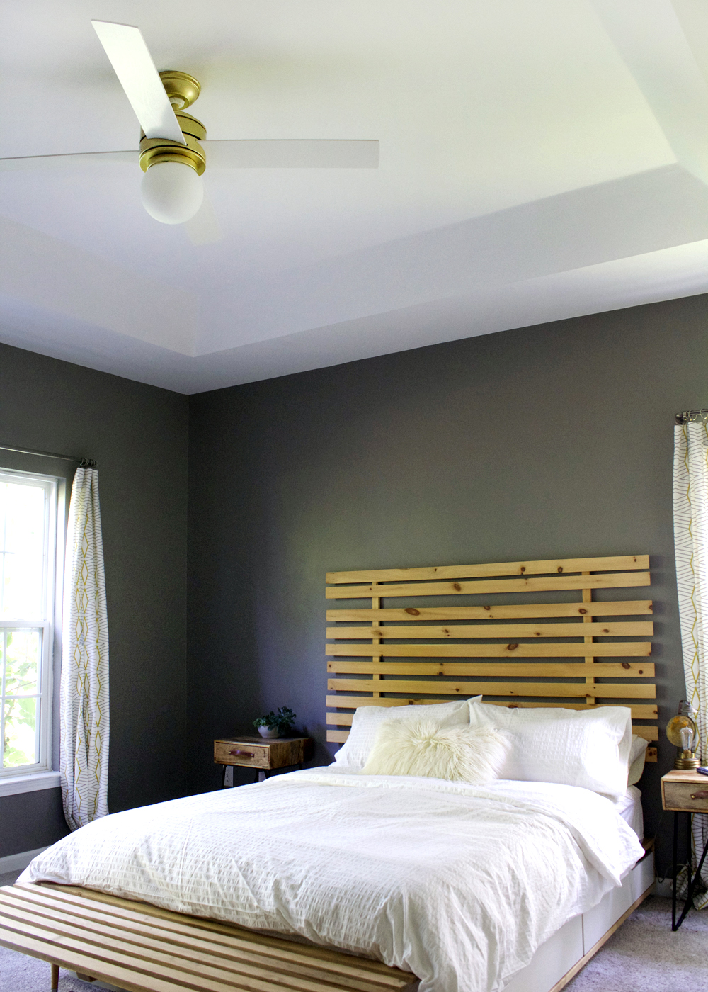 Dovetail Gray modern bedroom with white & wood accents #modernbedroom #budgetfriendly #greyandwhite