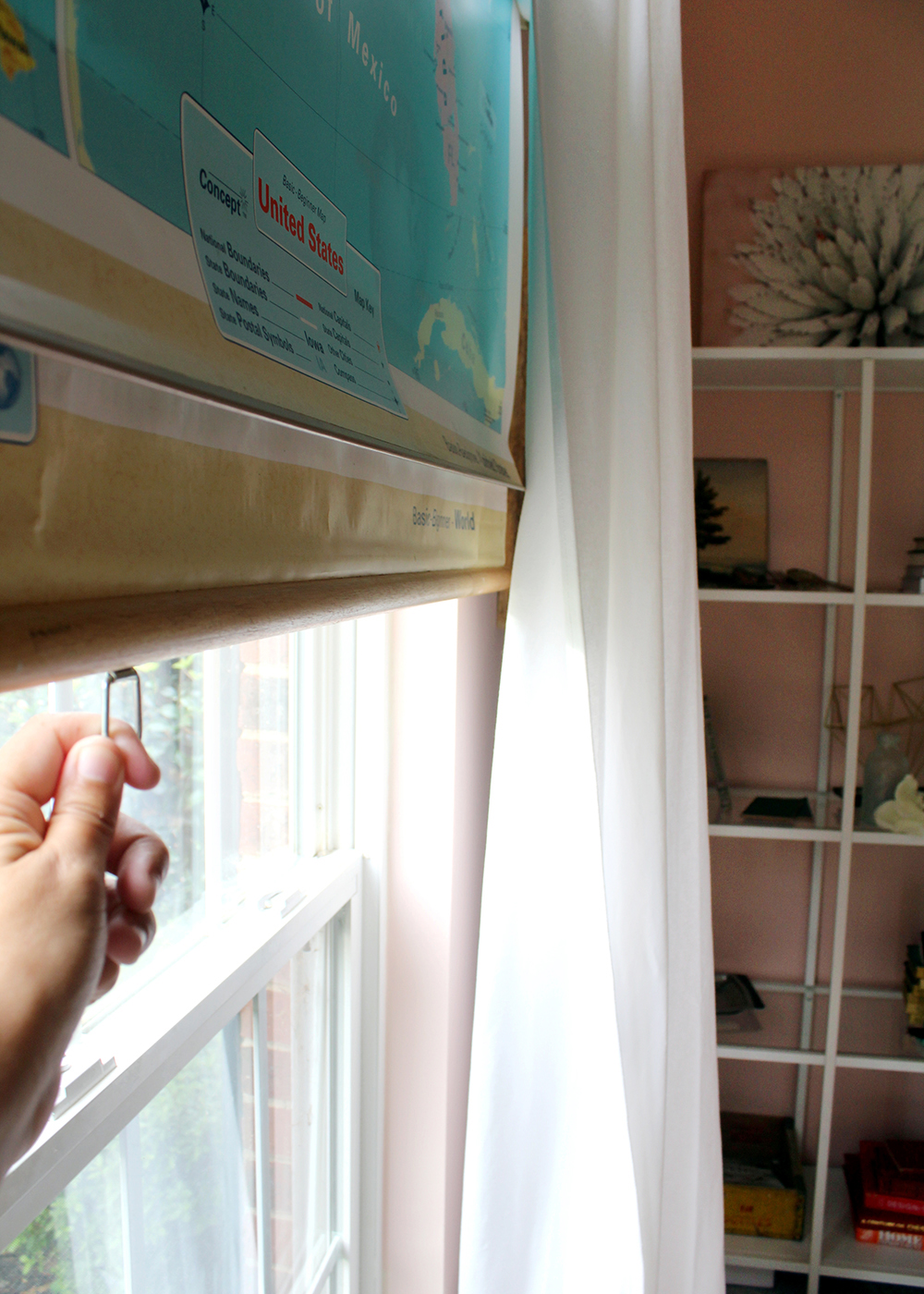 DIY Thrifted Map Upcyled to a Window Shade | tag&tibby