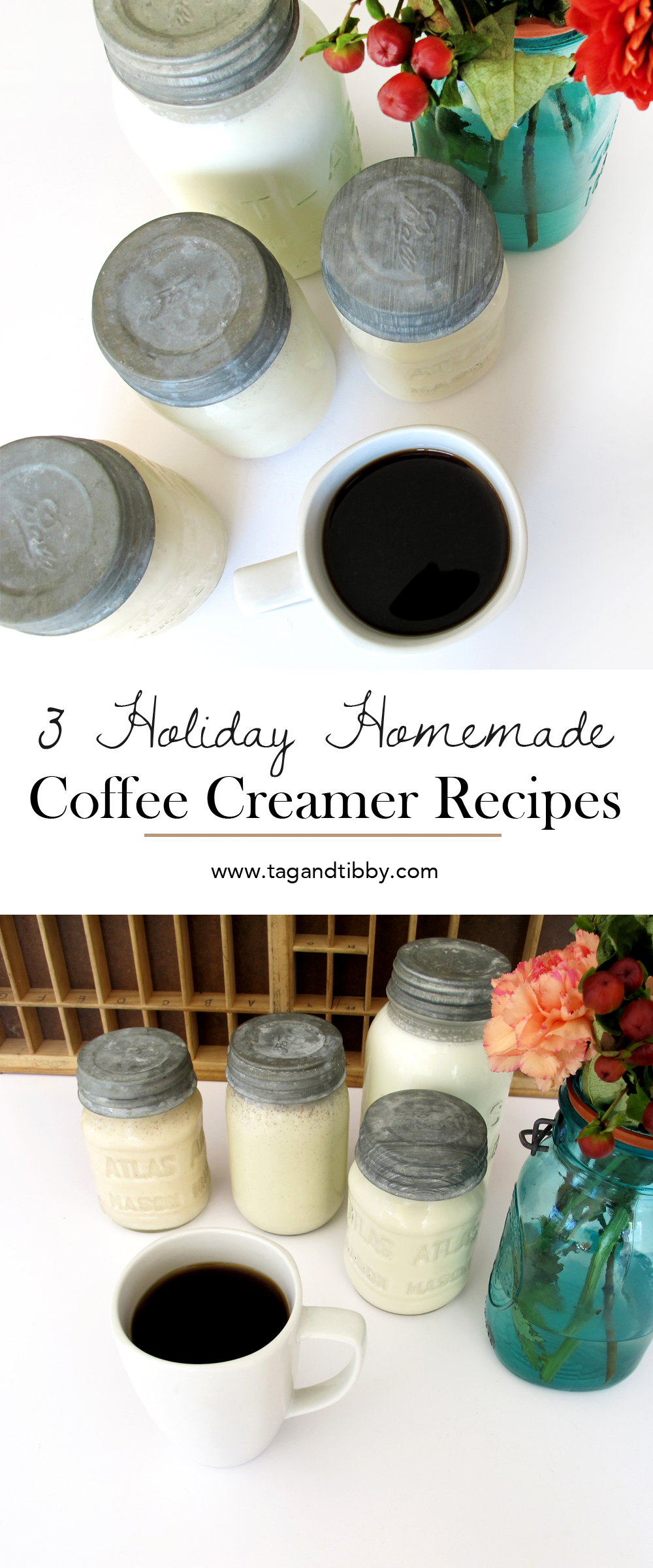 3 homemade holiday coffee creamer recipes: gingerbread, pumpkin spice, and french vanilla