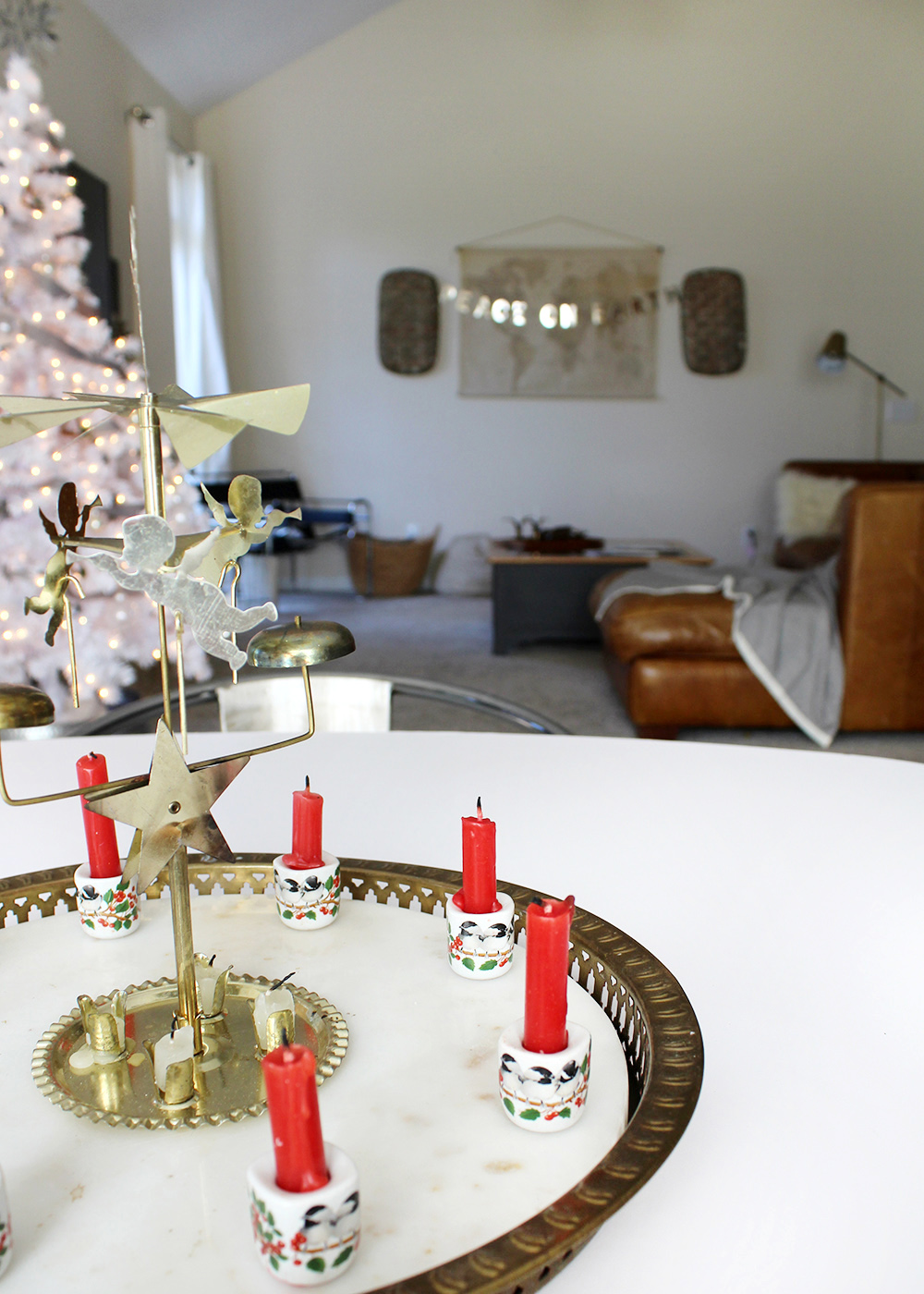 vintage brass angel chime with candles | Christmas decor ideas