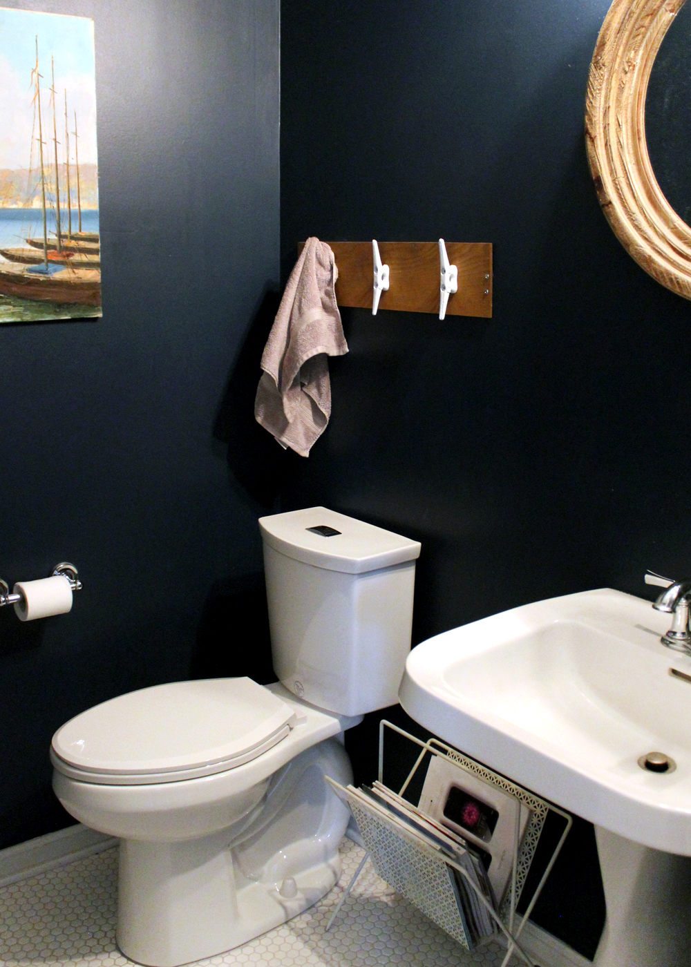 Small Navy Bathroom