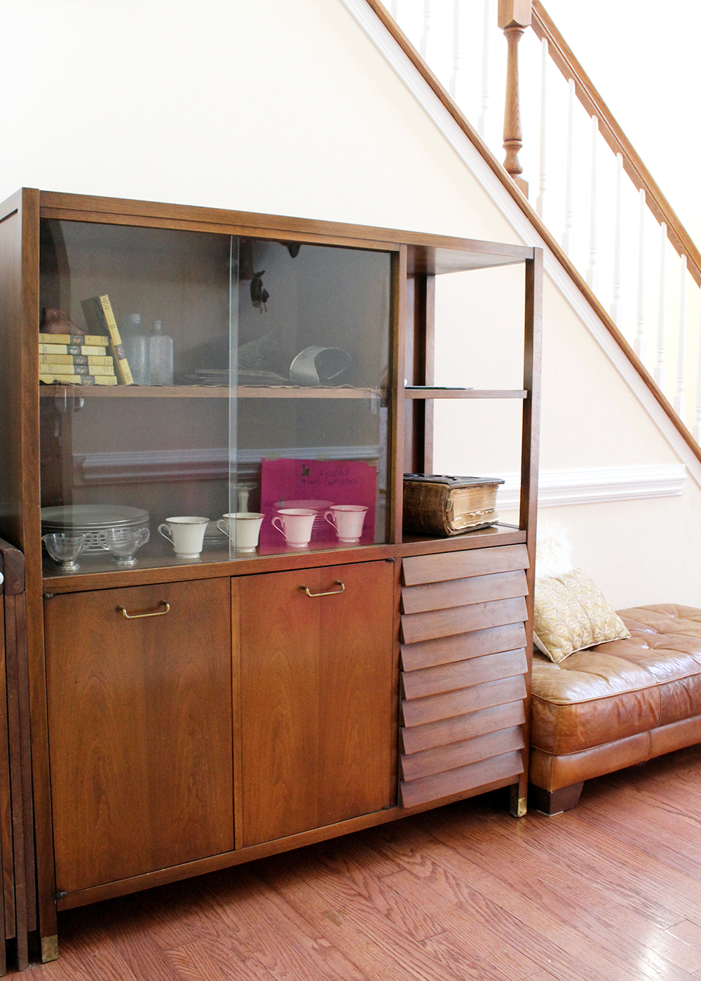 adding vintage to a newer home: mid century china cabinet hutch