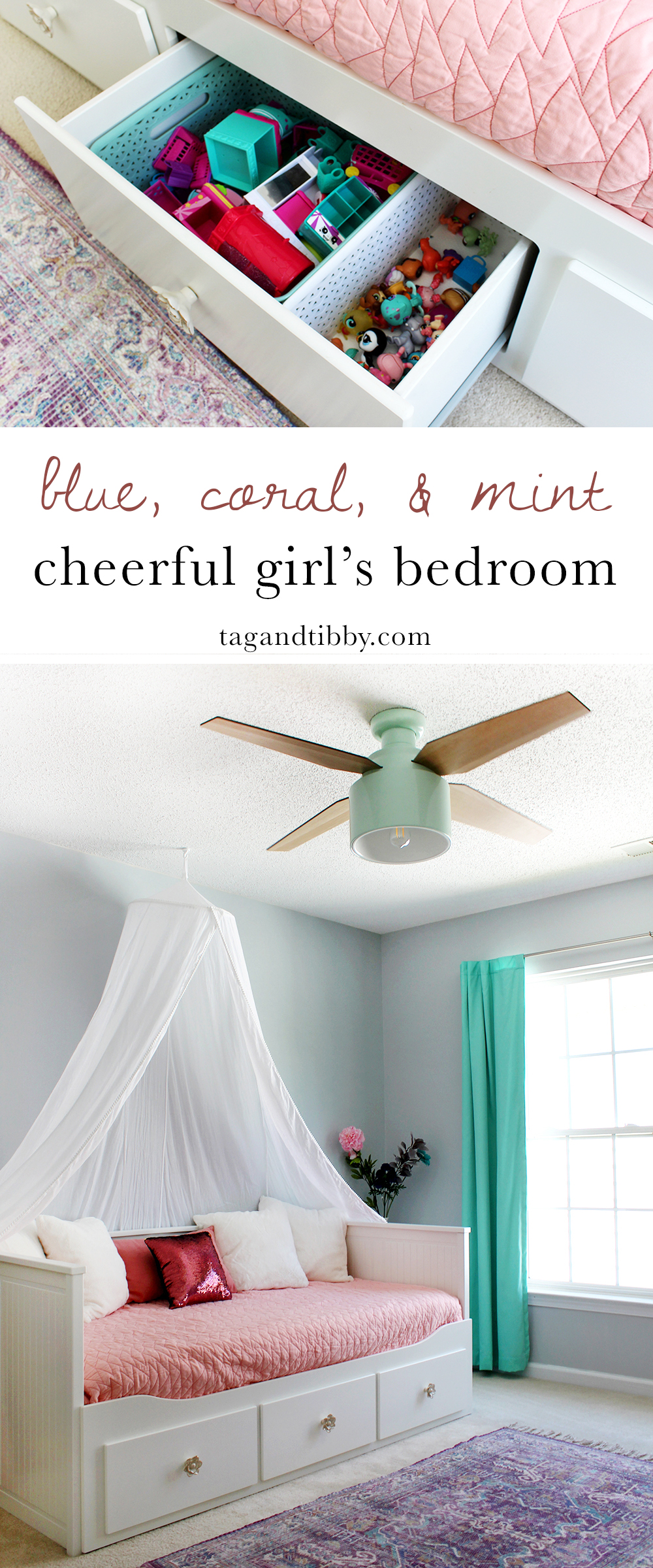 cheerful girl's bedroom in SW Misty blue paint & Cranbrook ceiling fan