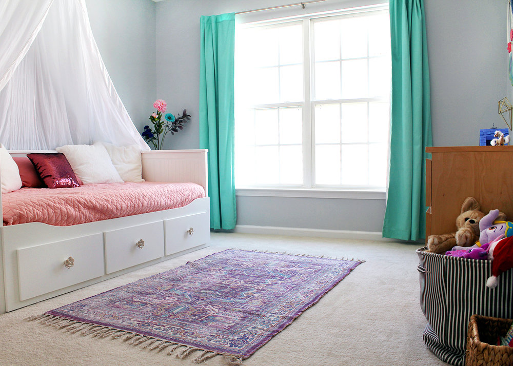 A Colorful Tween Girl's Bedroom Makeover
