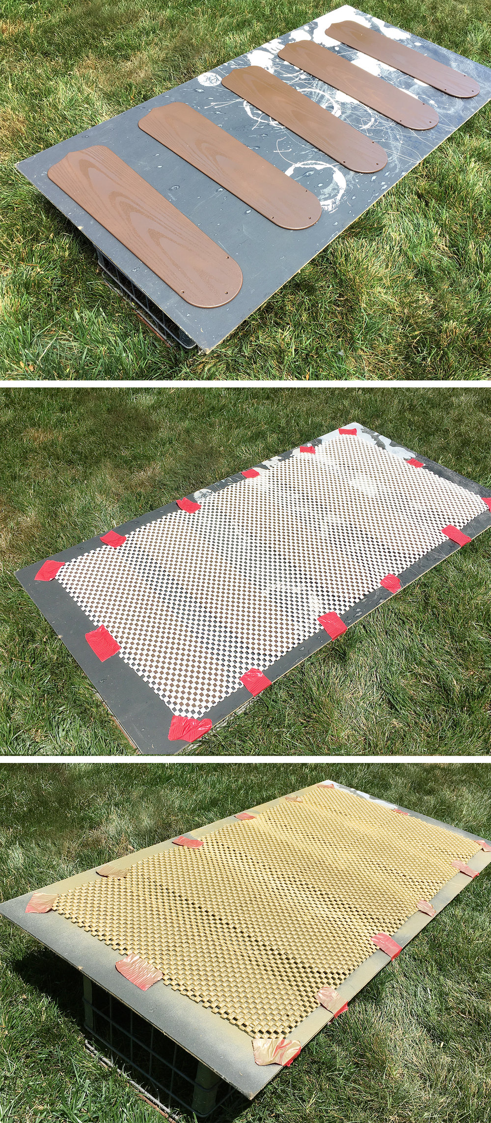 cover the fan blades with a rug pad, spray with gold for a fun checkered look #ceilingfan #DIY #upcycle