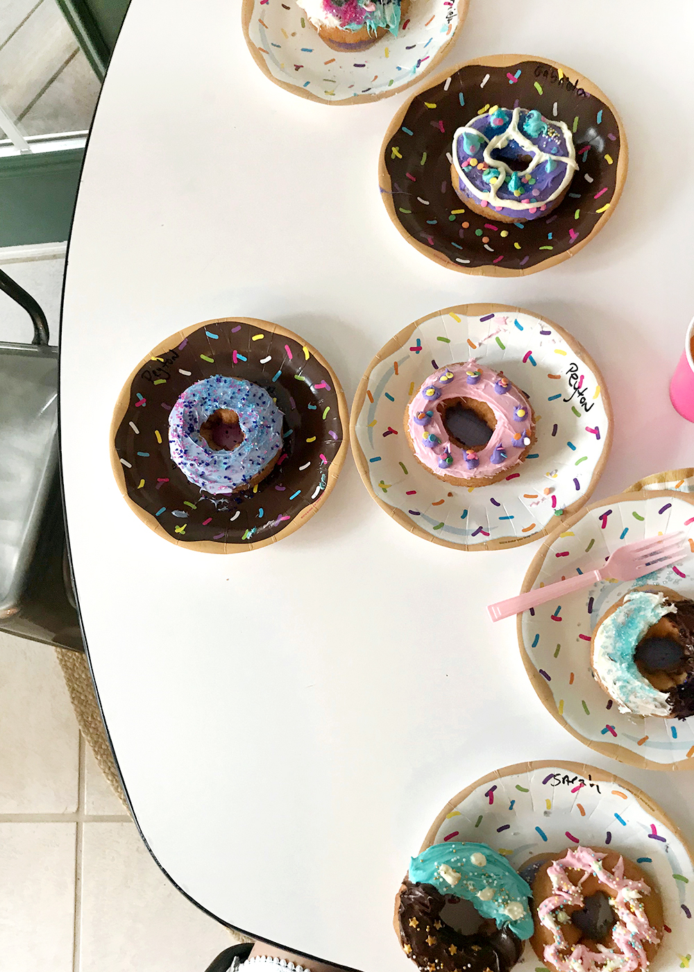fun donut designs at a donut decorating birthday party