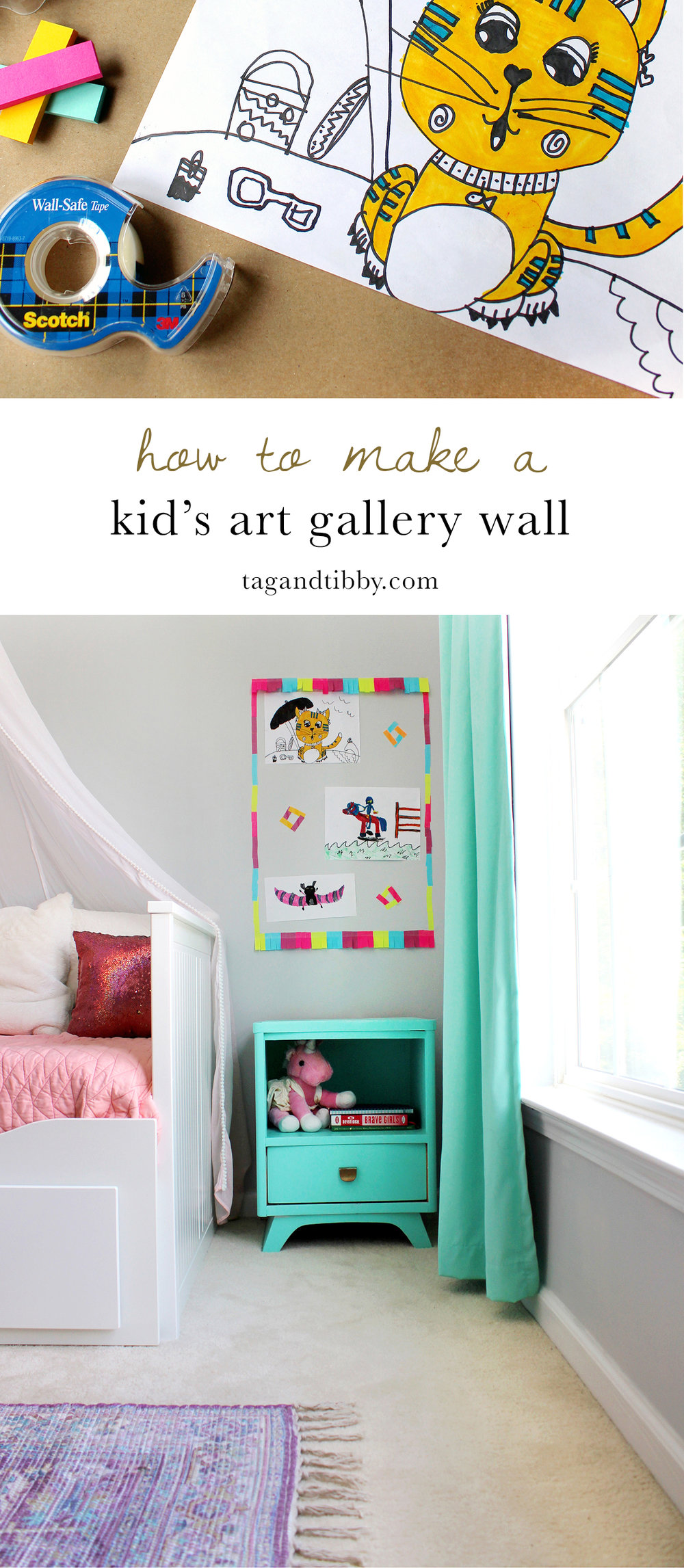 Learn how to make this fun art gallery wall with summer art projects. #BackToSchoolGoals18 #ad #kidscraft #tweencraft #creativekids