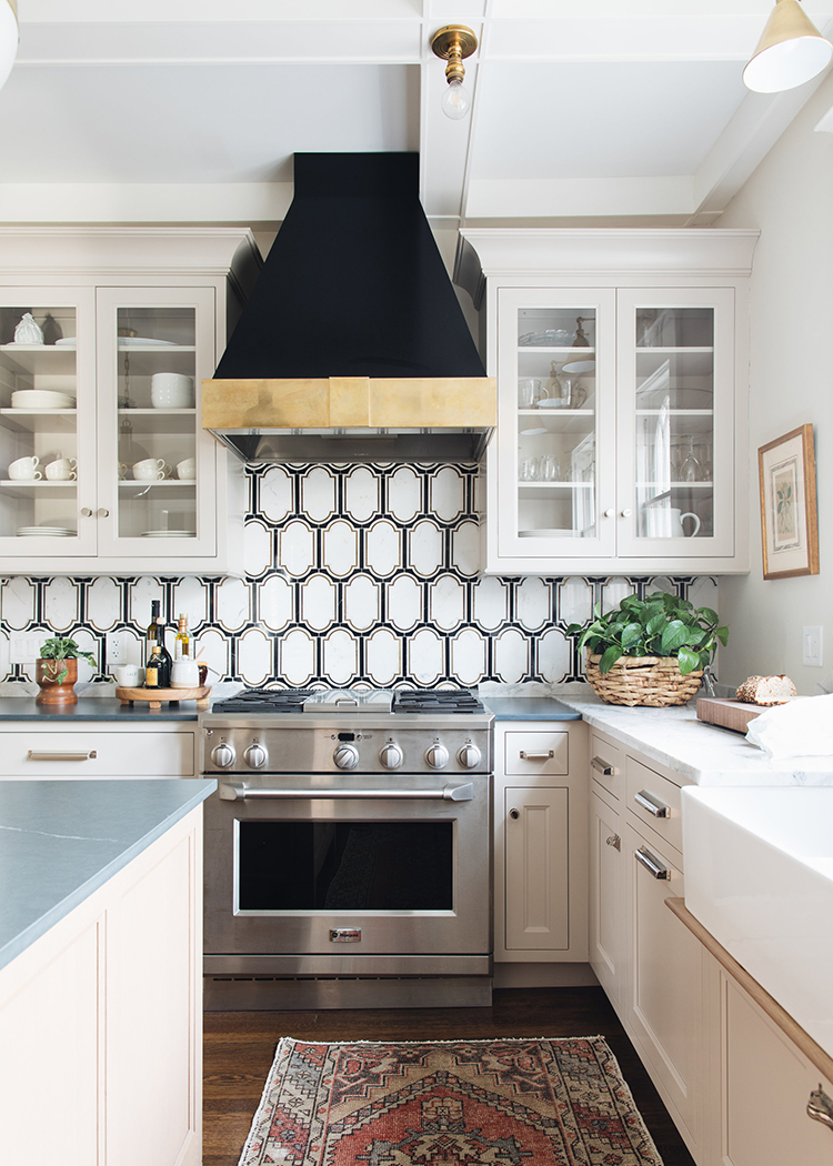 black & white tile via Jean Stoffer Design