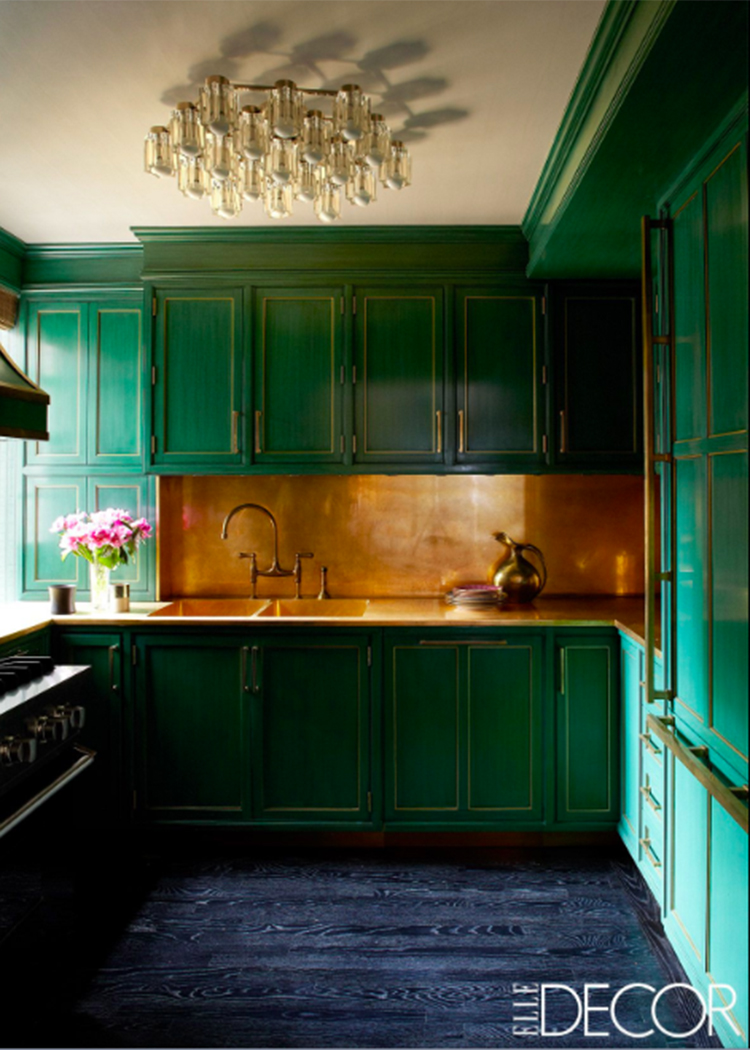 Beautiful Brass Backsplash via Elle Decor