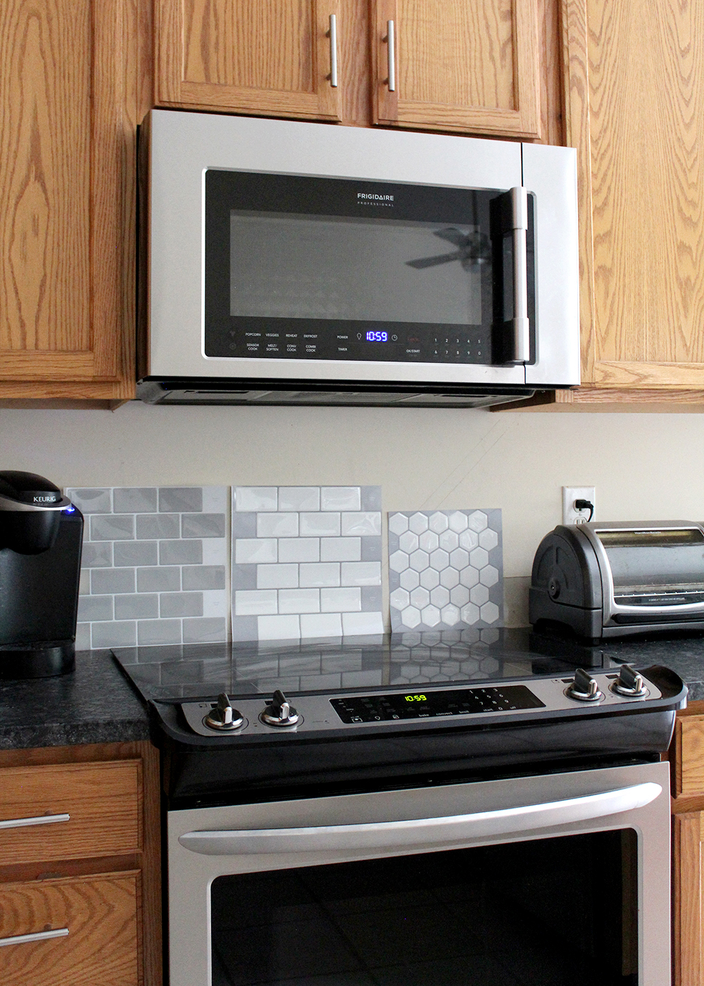 Peel and Stick Tiles for the Backsplash. I love that these are DIY friendly and you don't need a tile cutter!