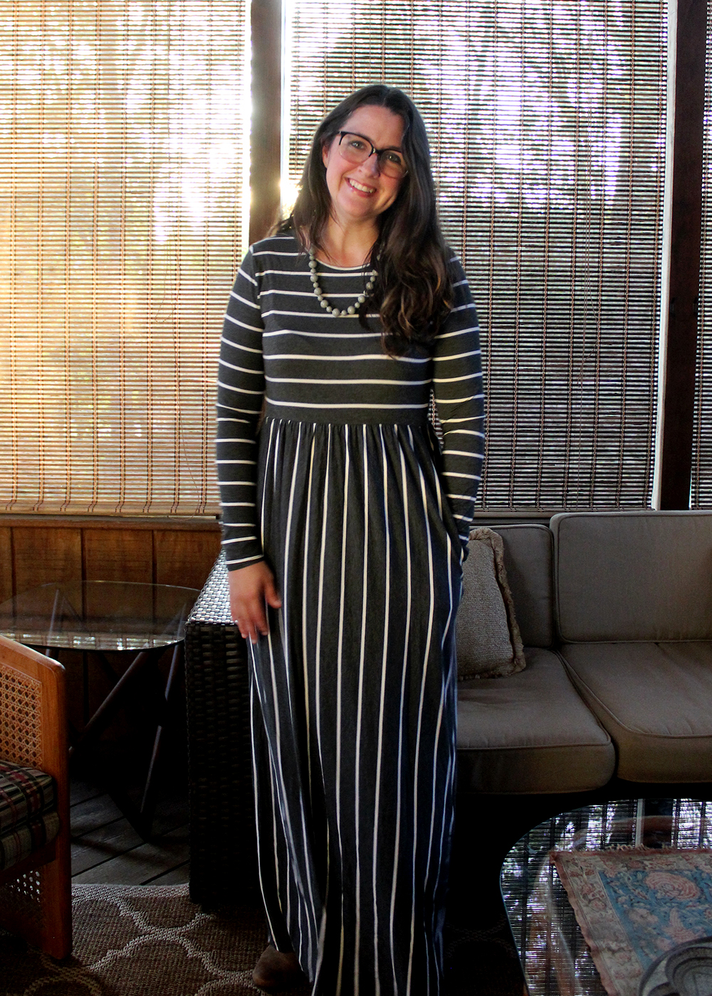Striped Maxi Dress for under $25. Fall fashion ideas