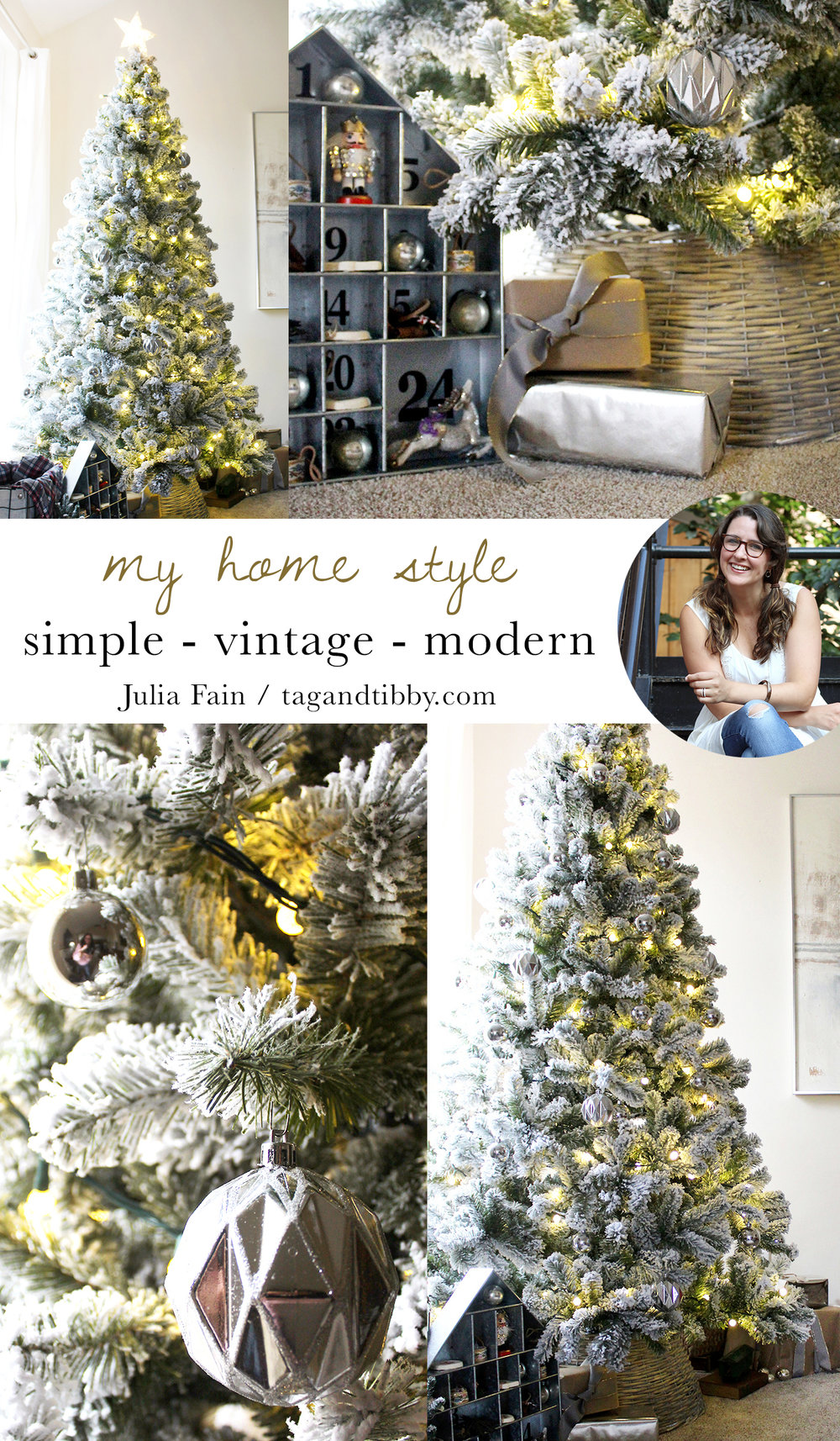simple, modern, vintage describes the style of this flocked Christmas tree #ChristmasDecor #FlockedTree #ChristmasTree