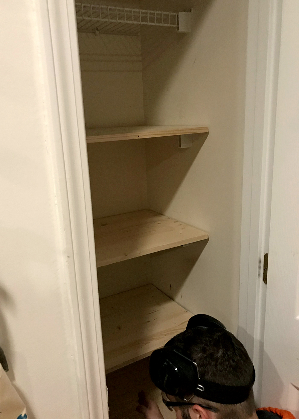check the width of each shelf before removing wire shelving