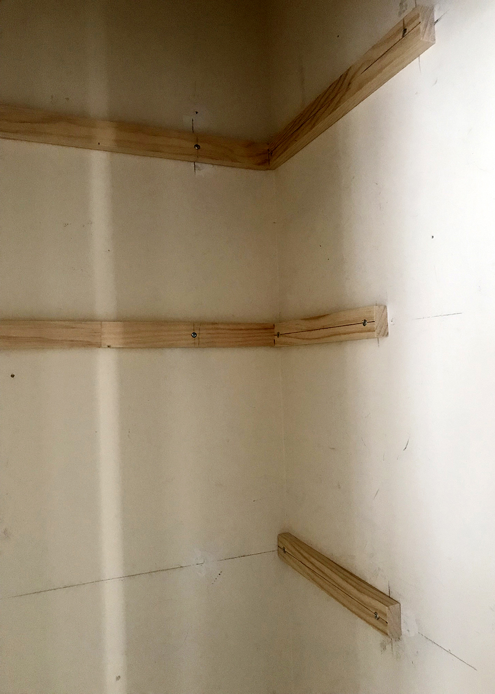 wood braces in place before painting