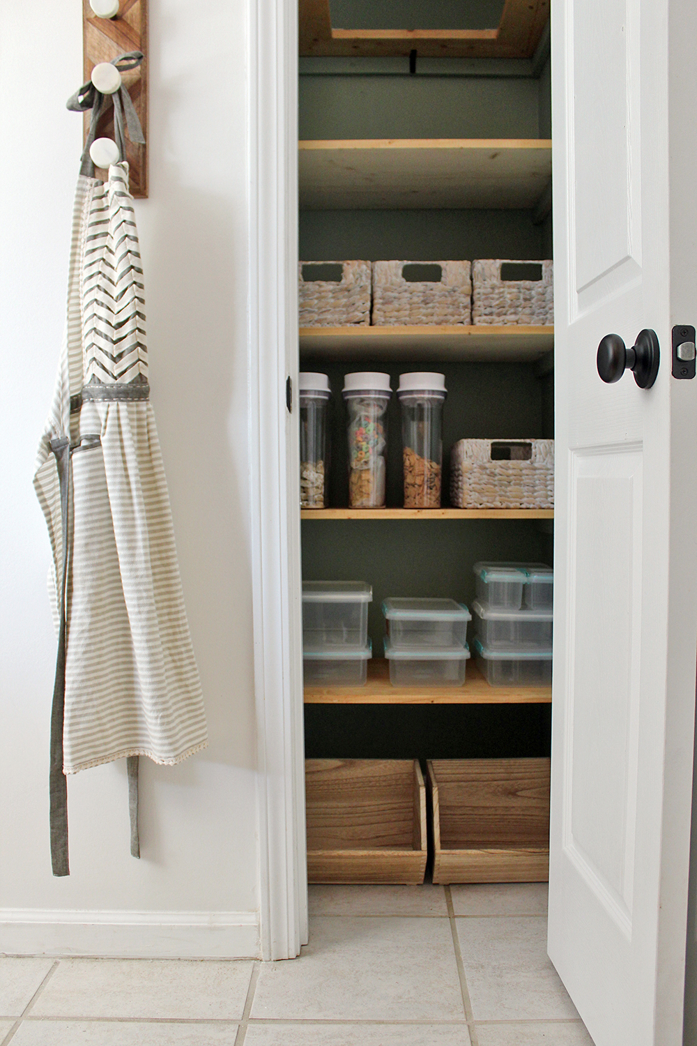 ready to put food on the shelf with new organization