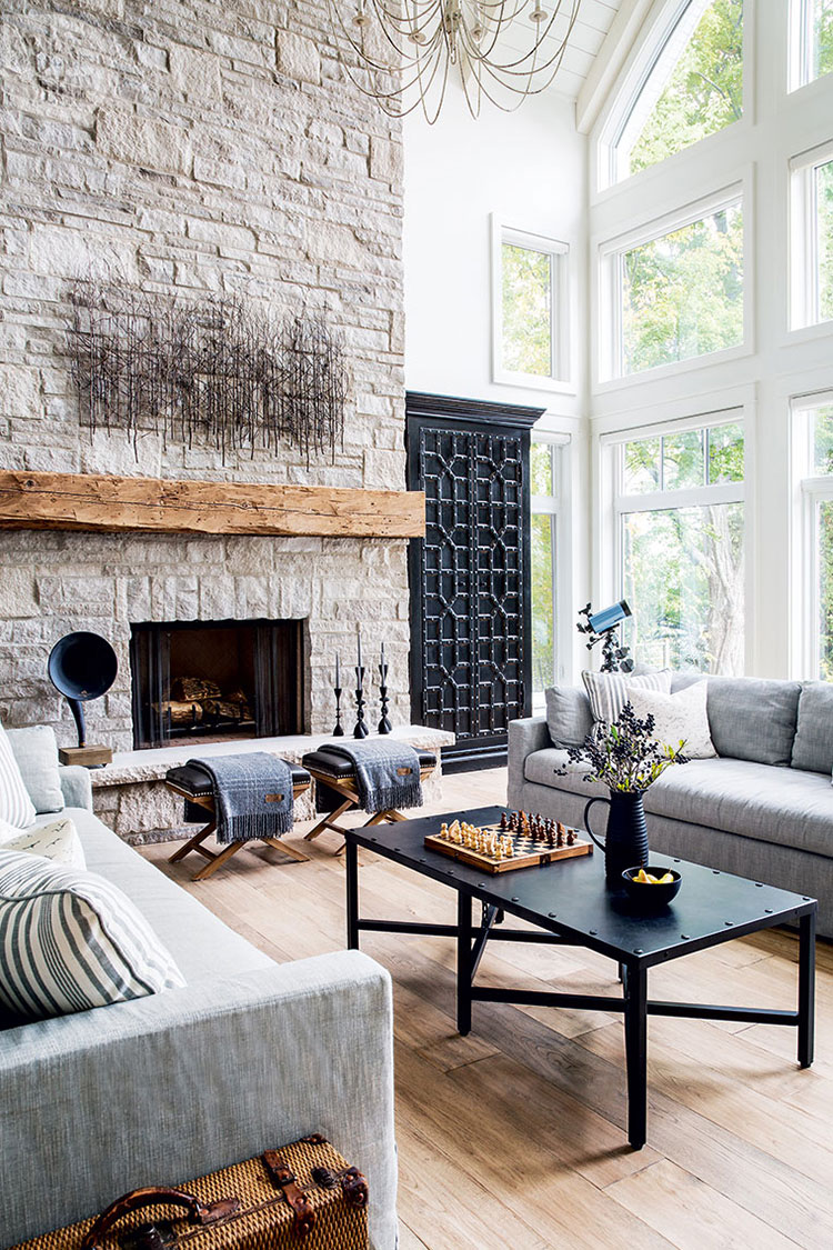 Rustic Stone Fireplace. Inspiration Source: Style at Home