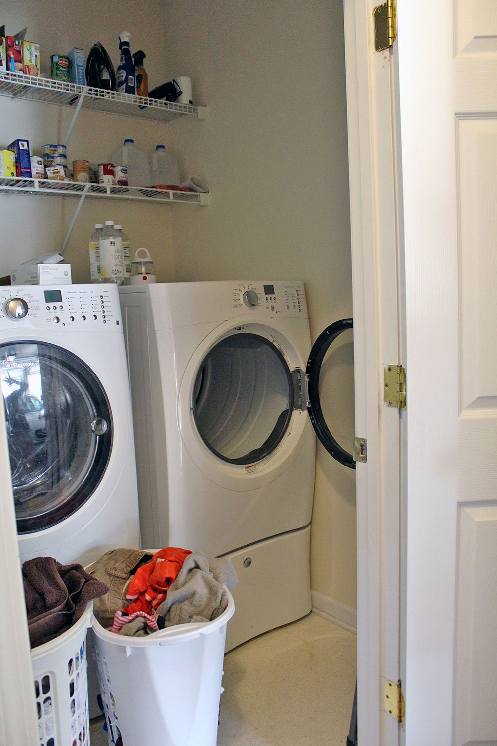 small laundry room with front loaders (before!)