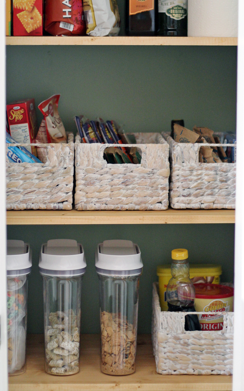 organize in baskets   practical tips for storing more in a kitchen pantry