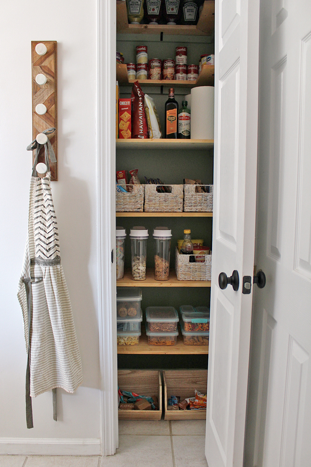 A Clever Kitchen Pantry Makeover for $300 with green walls #homedesign #kitchendesign