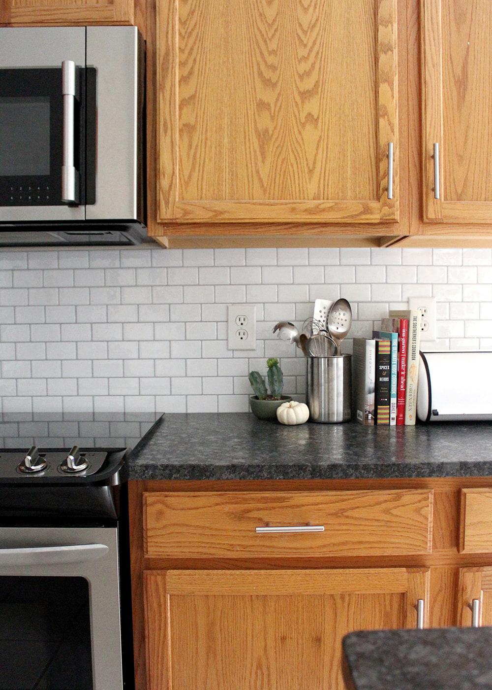 DIY peel and stick subway tile backsplash for under $125
