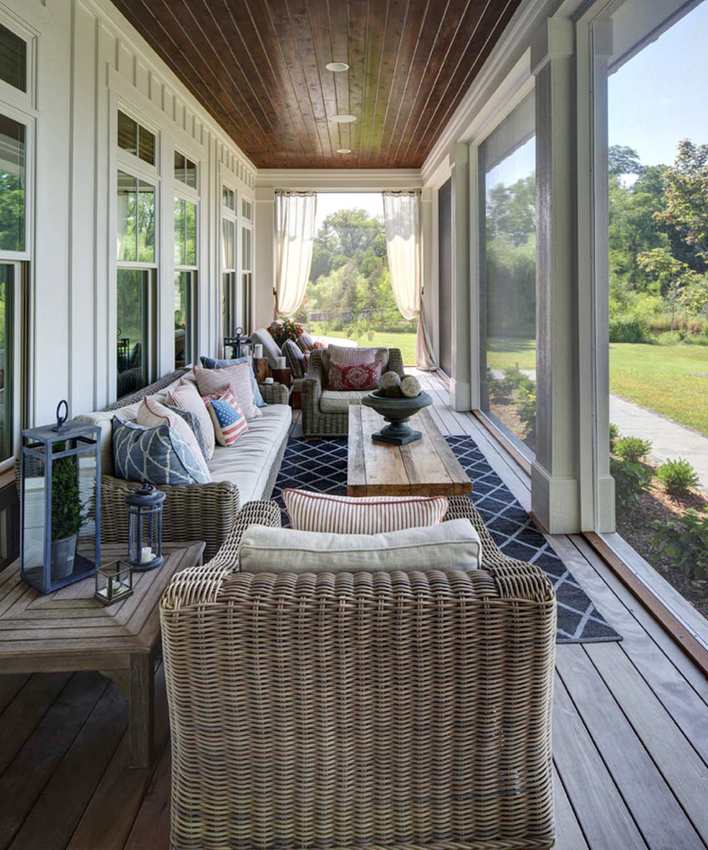 Classic, Neutral Screened Porch. Image Source: One Kind Design, Dee Simons Interiors
