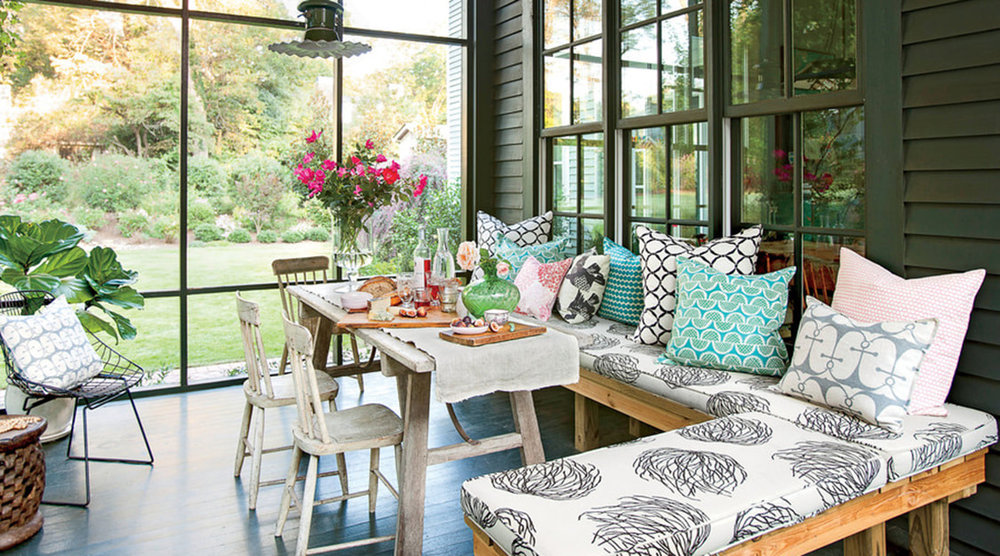 Cheerful Throw Pillows with Dark Walls. Image Source: Southern Living, Erica George Dines