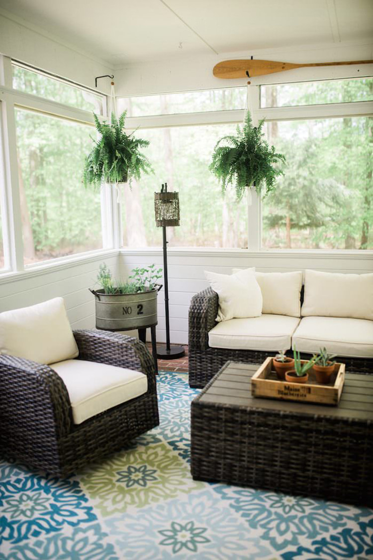 White Screened in Porch. Image Source: Lynzy & Co.