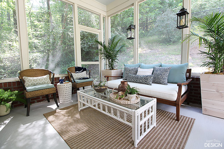 Calm, Neutral Screened Porch. Image Source: Deeply Southern Home