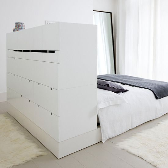 Clothing Storage Head Board with Bed
