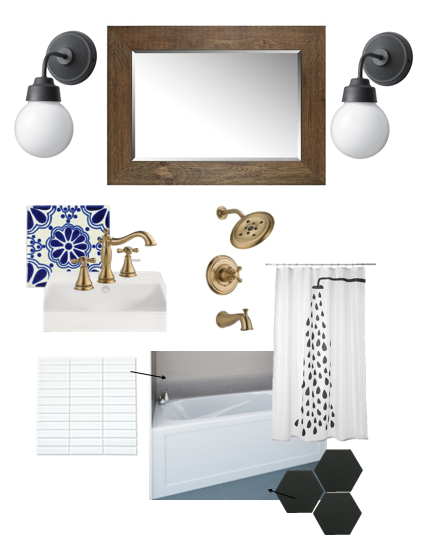 Black Hex Floor Tile/ White Stacked 4x12 Subway Wall Tile/Gold Plumbing Fixtures/Mexican Backsplash Tiles (brought back from Mexico in my suitcase!)/IKEA Lights/Lowes Mirror/Painted White Walls