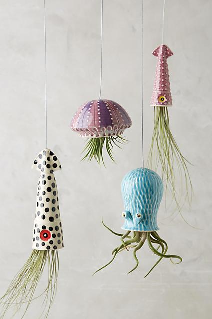 Sea Creatures Hanging Planters; Anthropolgie
