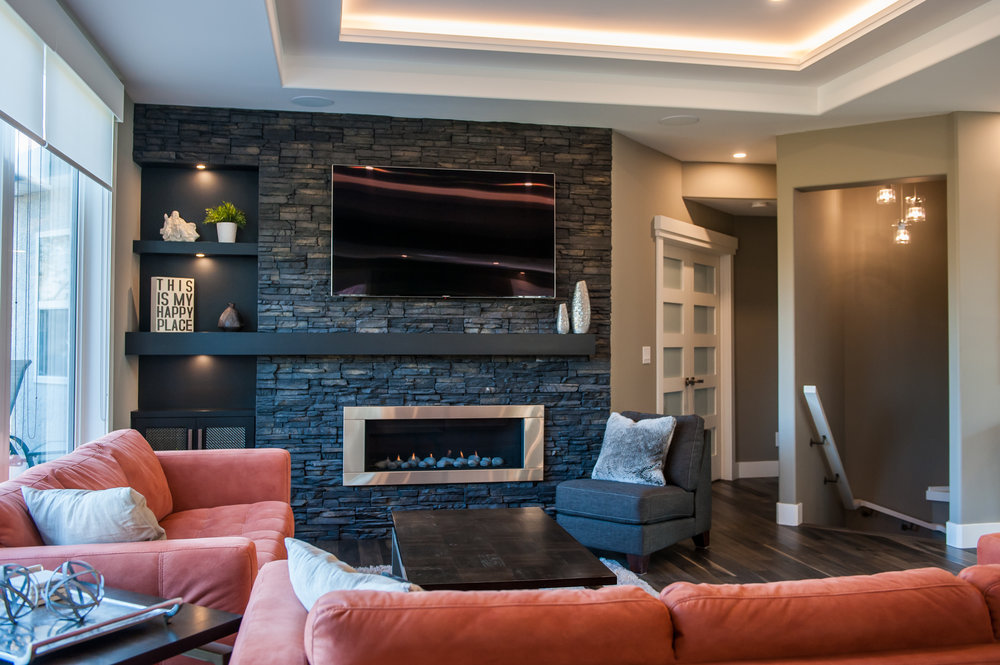 open concept living fireplace