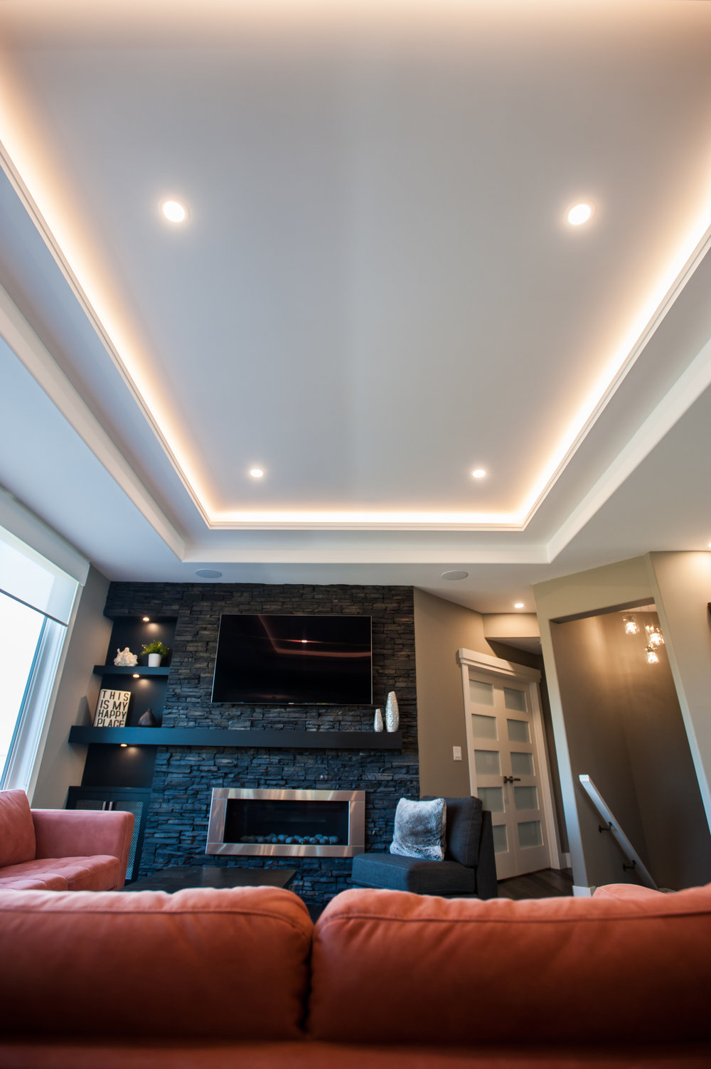 coffered ceiling livingroom