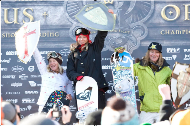 ON TOP OF THE US OPEN PODIUM WITH OLYMPIC MEDALISTS JAMIE ANDERSON & JENNY JONES